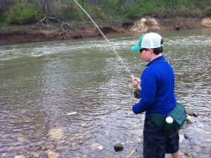 Daniel playing his first white bass on the fly.